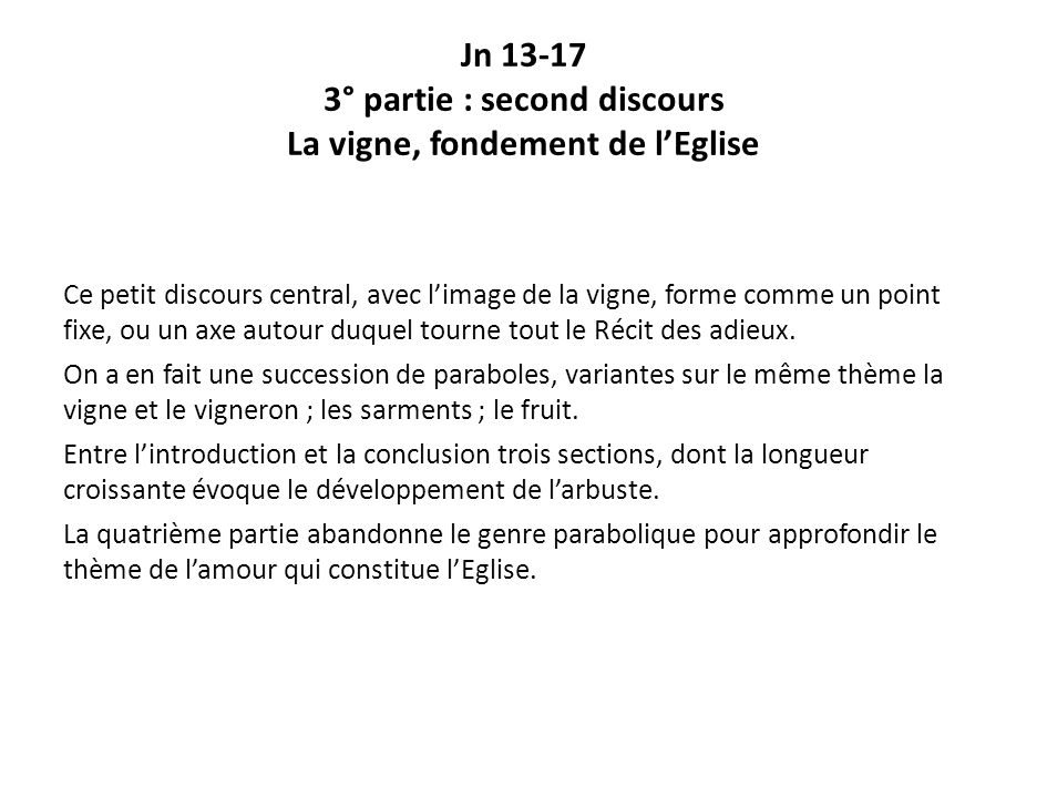 Jn 13-17 3° partie : second discours La vigne, fondement de l'Eglise