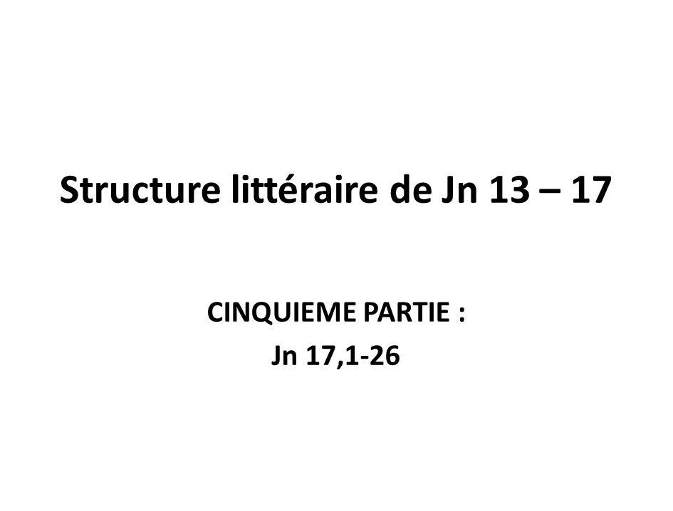Structure littéraire de Jn 13 – 17