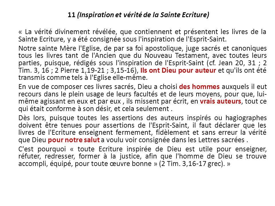11 (Inspiration et vérité de la Sainte Ecriture)