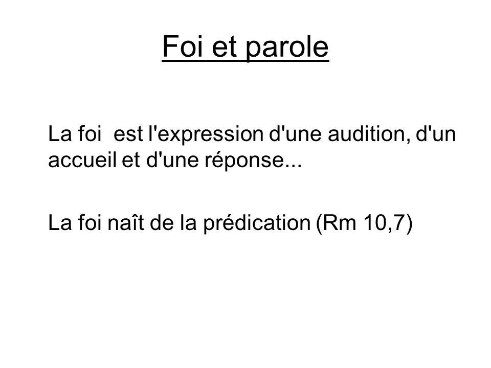 Foi et paroleLa foi est l expression d une audition, d un accueil et d une réponse...