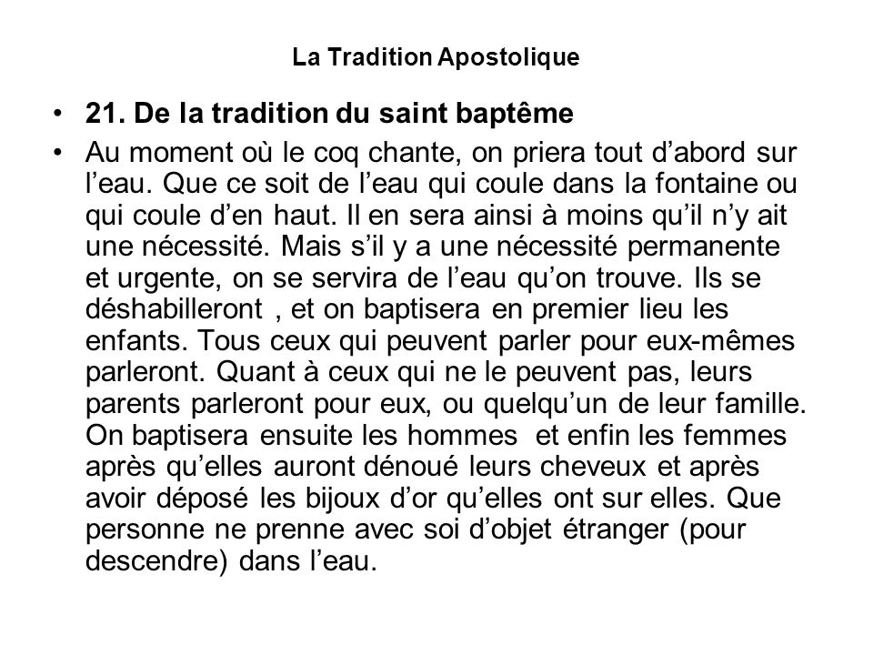 La Tradition Apostolique