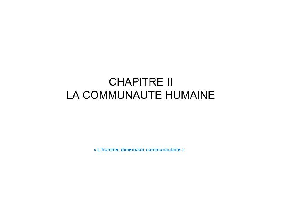 CHAPITRE II LA COMMUNAUTE HUMAINE