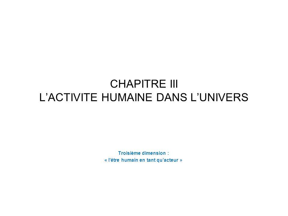 CHAPITRE III L'ACTIVITE HUMAINE DANS L'UNIVERS