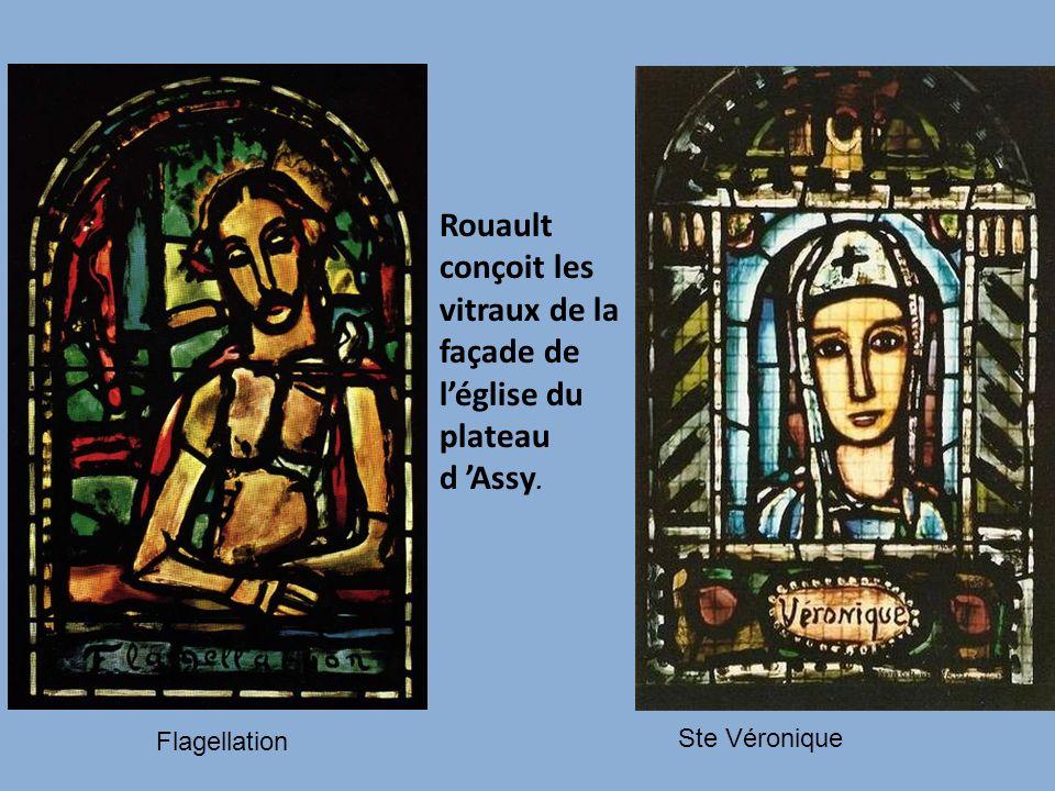 Rouault conçoit les vitraux de la façade de l'église du plateau d 'Assy.