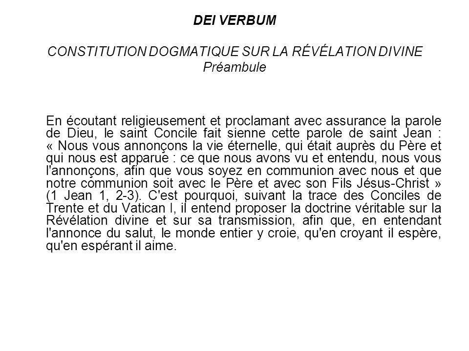 DEI VERBUM CONSTITUTION DOGMATIQUE SUR LA RÉVÉLATION DIVINE Préambule