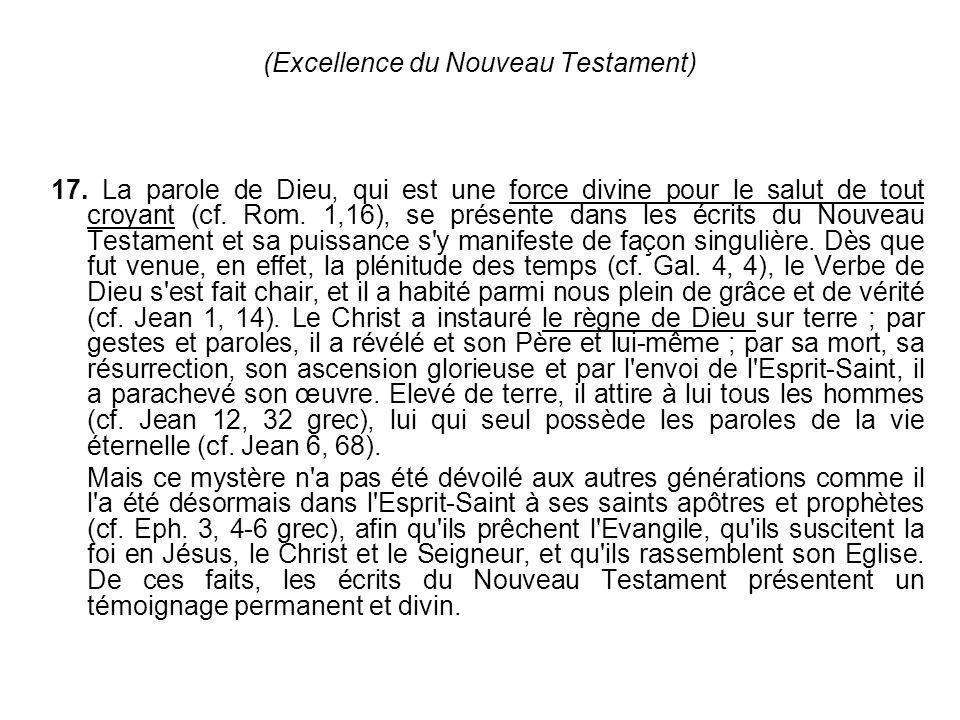(Excellence du Nouveau Testament)