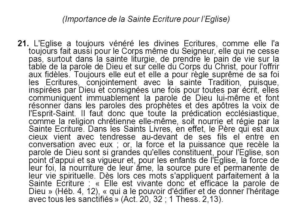 (Importance de la Sainte Ecriture pour l'Eglise)