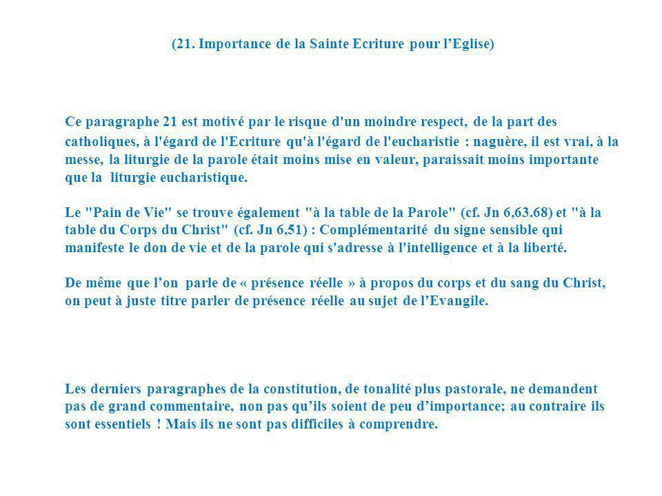 (21. Importance de la Sainte Ecriture pour l'Eglise)