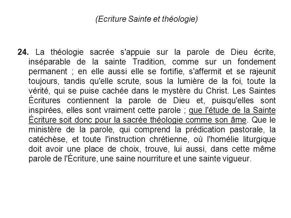 (Ecriture Sainte et théologie)