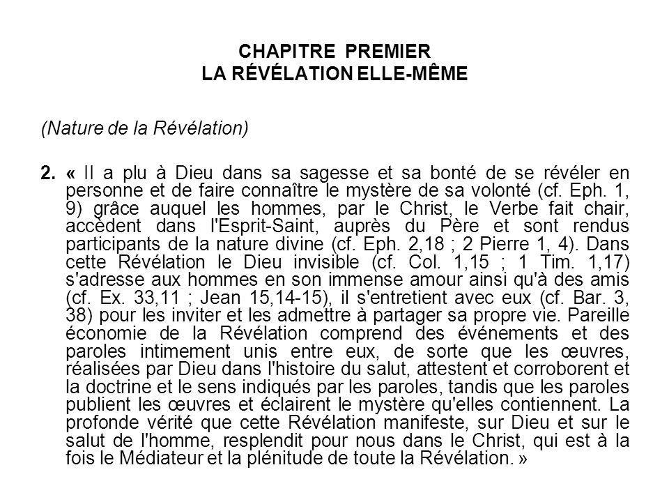 CHAPITRE PREMIER LA RÉVÉLATION ELLE-MÊME