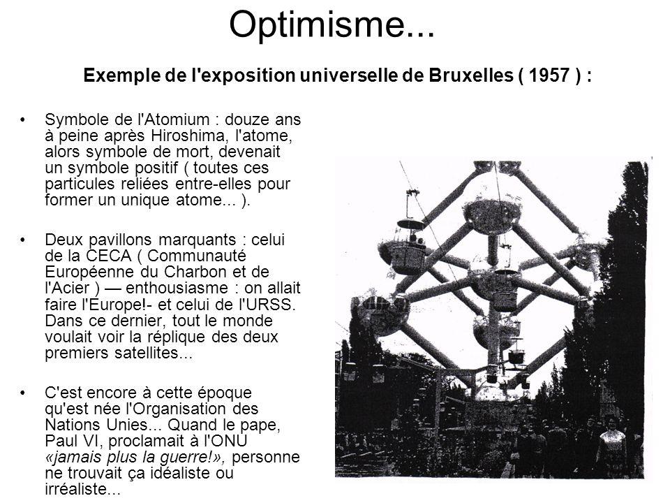 Optimisme... Exemple de l exposition universelle de Bruxelles ( 1957 ) :