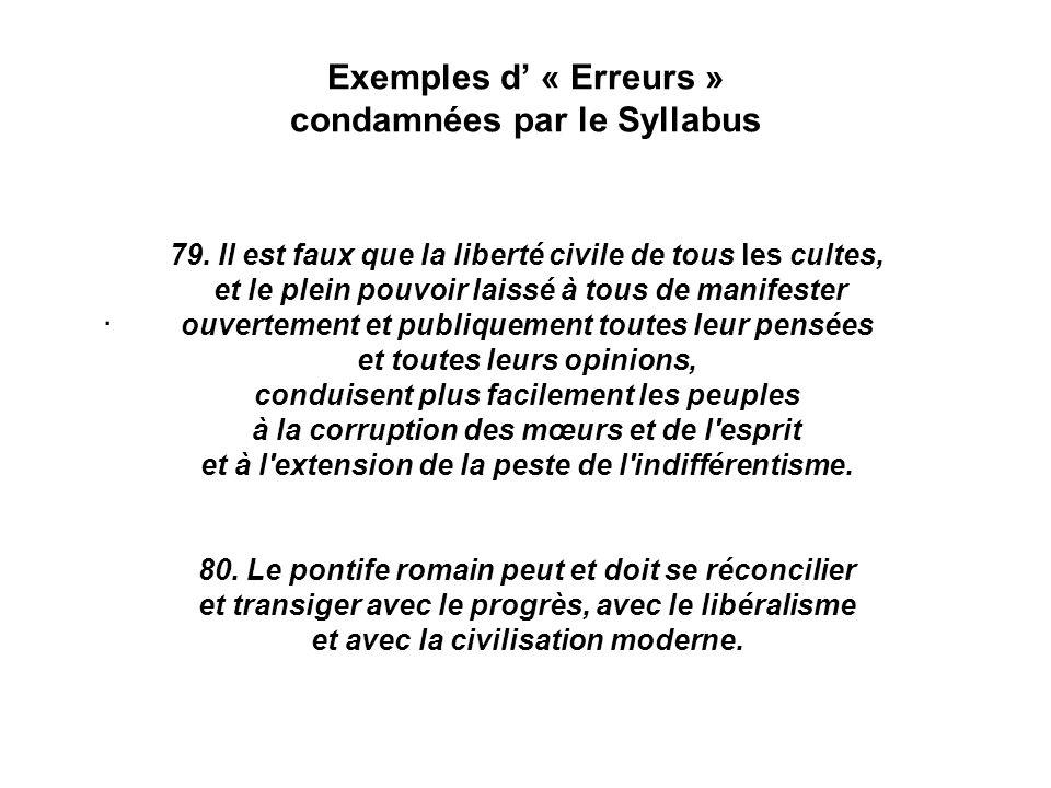 Exemples d' « Erreurs » condamnées par le Syllabus