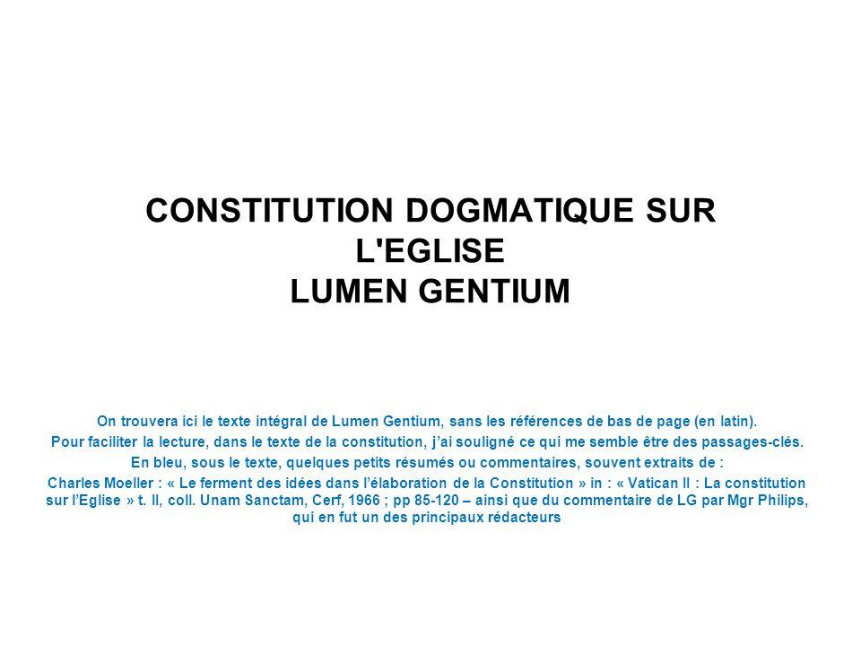 CONSTITUTION DOGMATIQUE SUR L EGLISE LUMEN GENTIUM