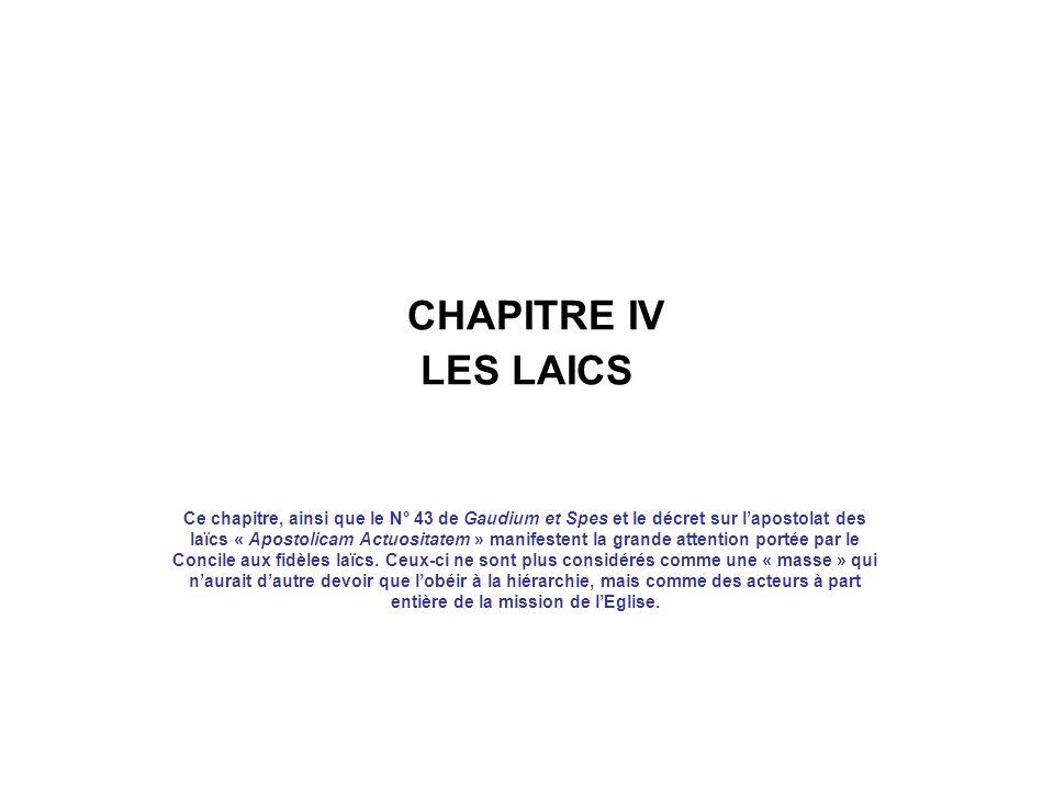 CHAPITRE IV LES LAICS
