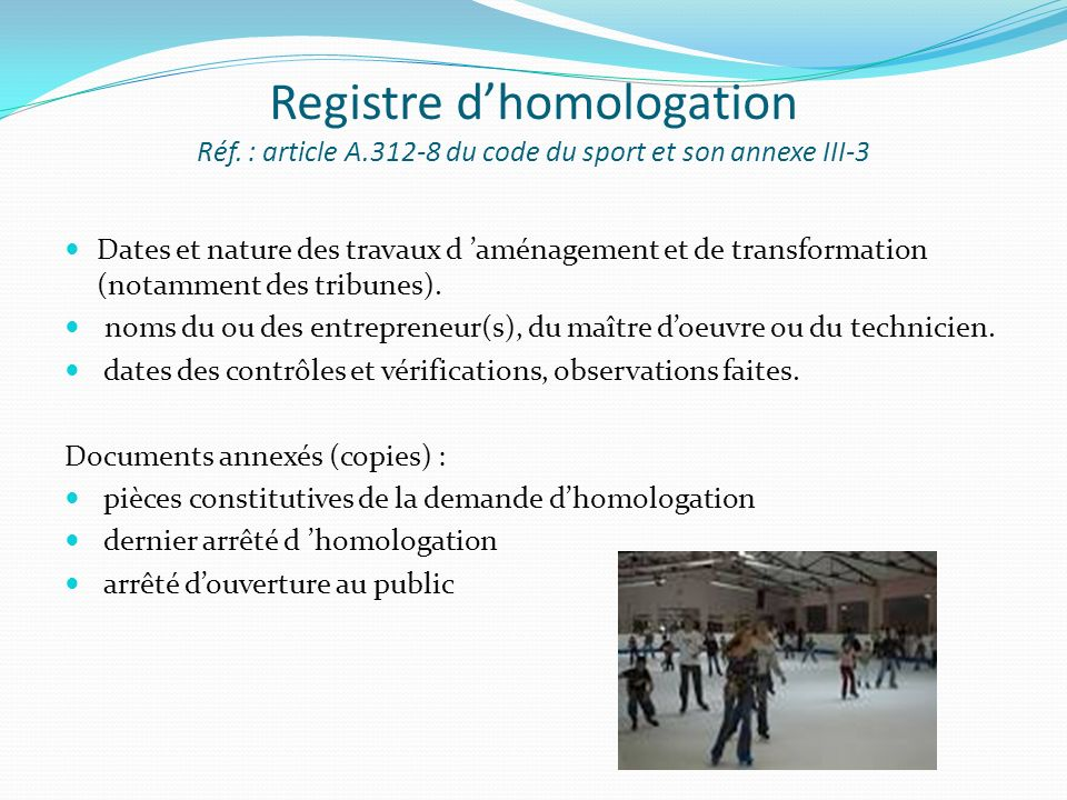 Registre d'homologation Réf. : article A
