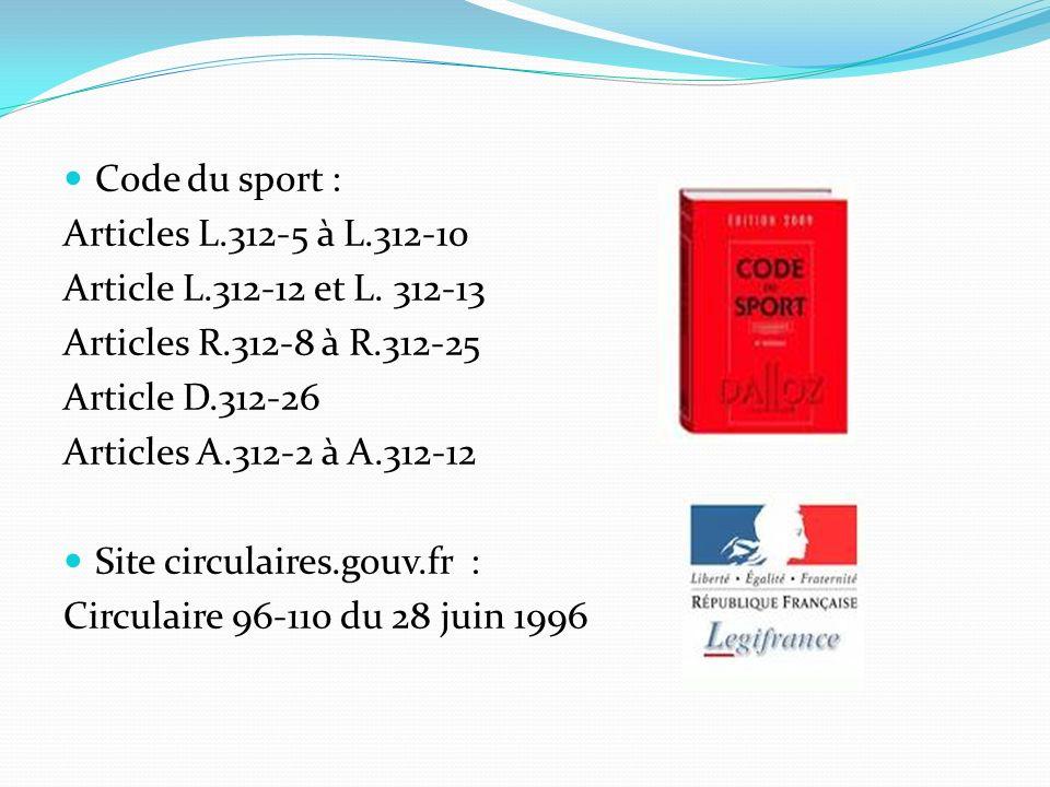 Code du sport :Articles L.312-5 à L.312-10. Article L.312-12 et L. 312-13. Articles R.312-8 à R.312-25.