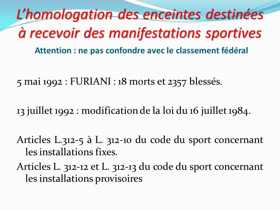 L'homologation des enceintes destinées à recevoir des manifestations sportives Attention : ne pas confondre avec le classement fédéral