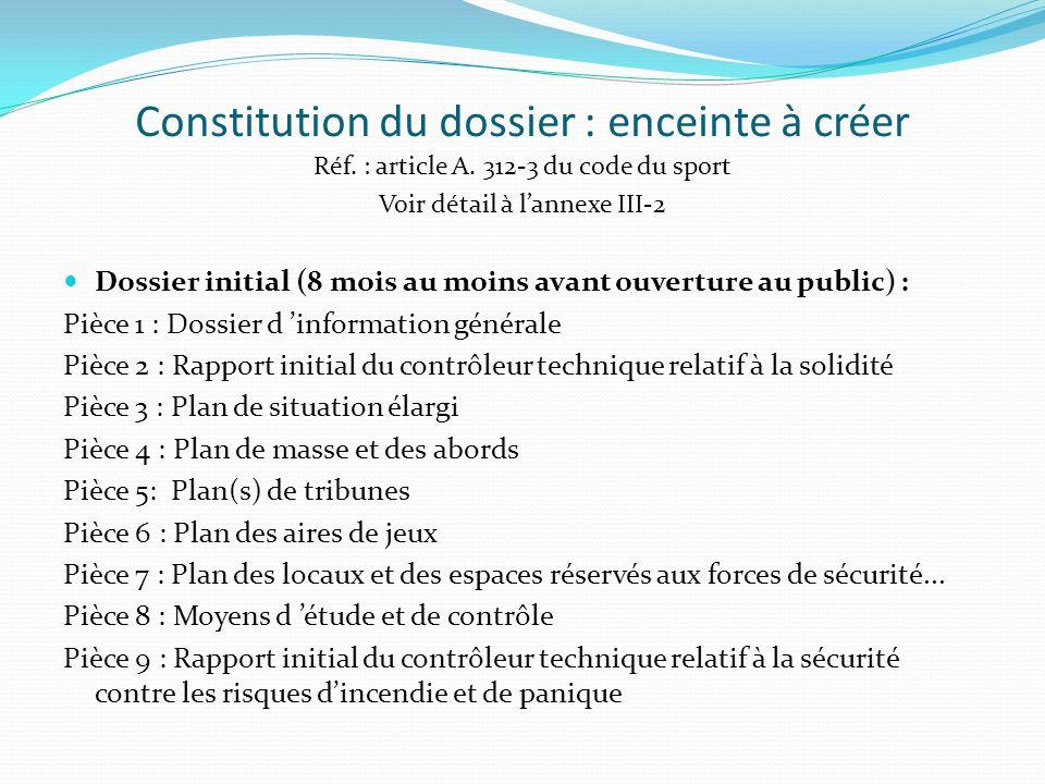 Constitution du dossier : enceinte à créer