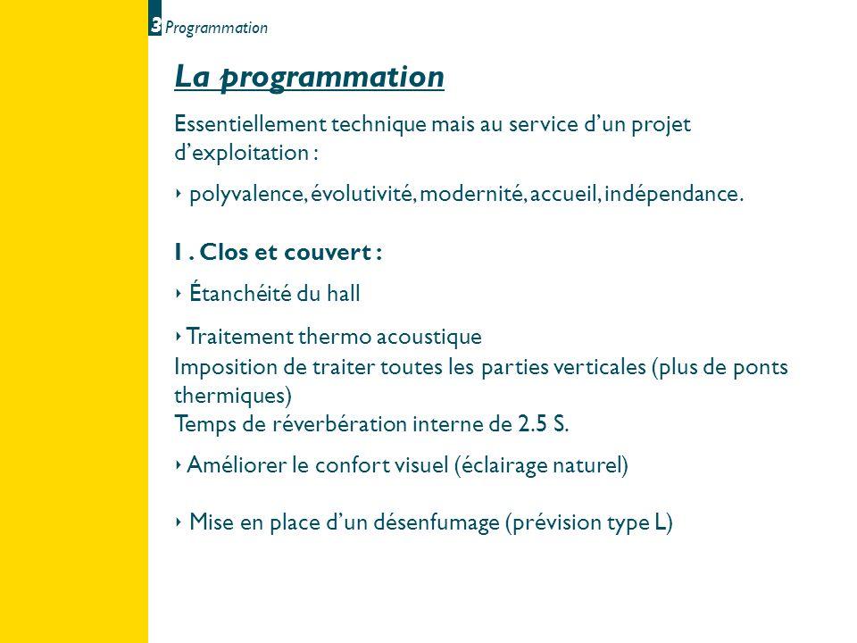 3 Programmation. La programmation. Essentiellement technique mais au service d'un projet d'exploitation :