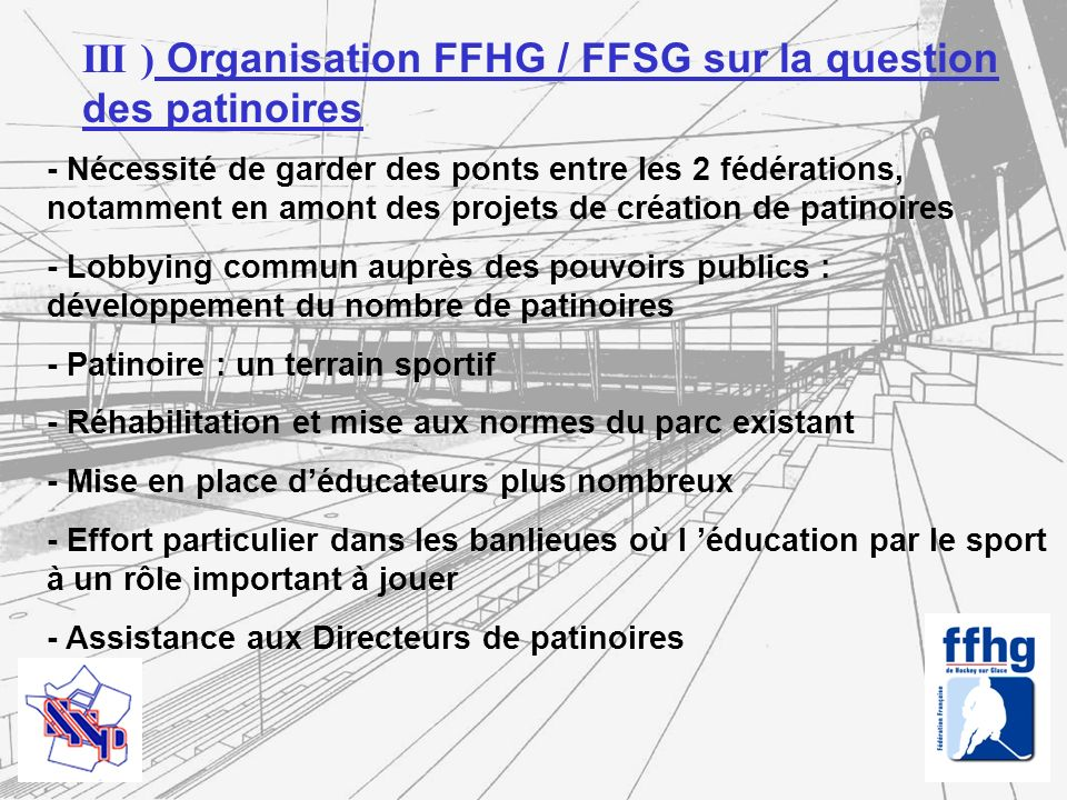 III ) Organisation FFHG / FFSG sur la question des patinoires