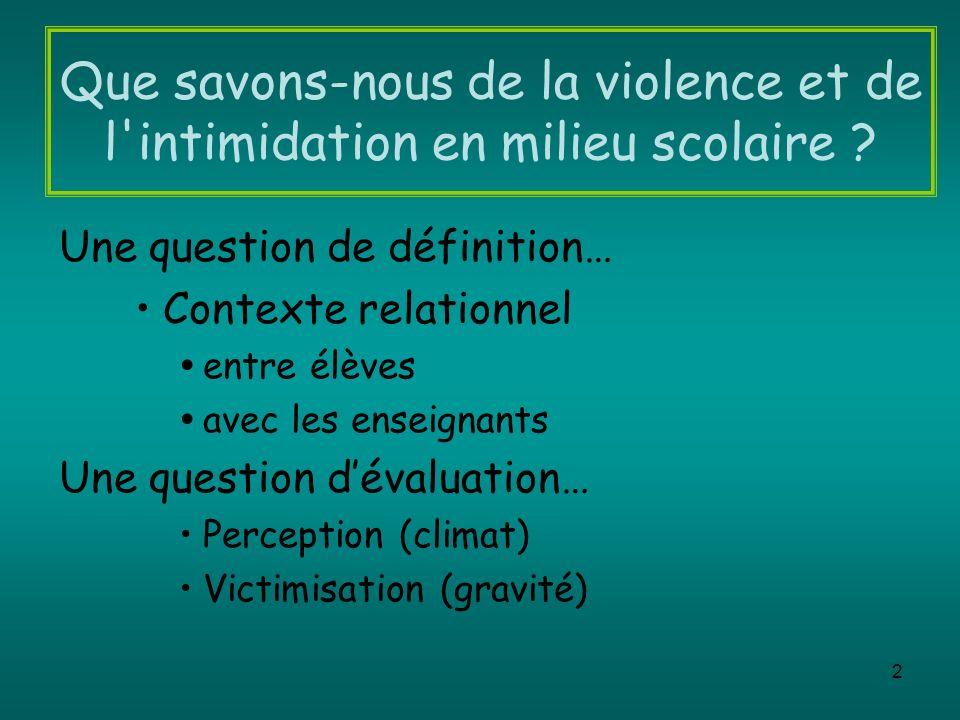 Que savons-nous de la violence et de l intimidation en milieu scolaire