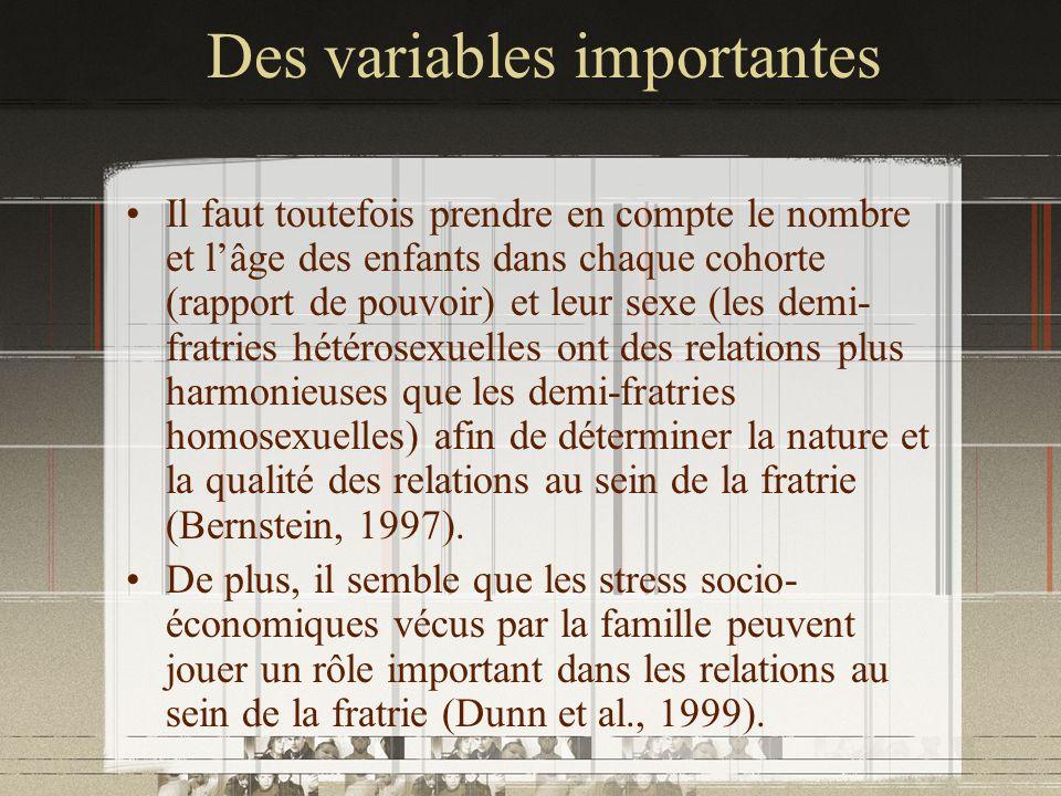 Des variables importantes