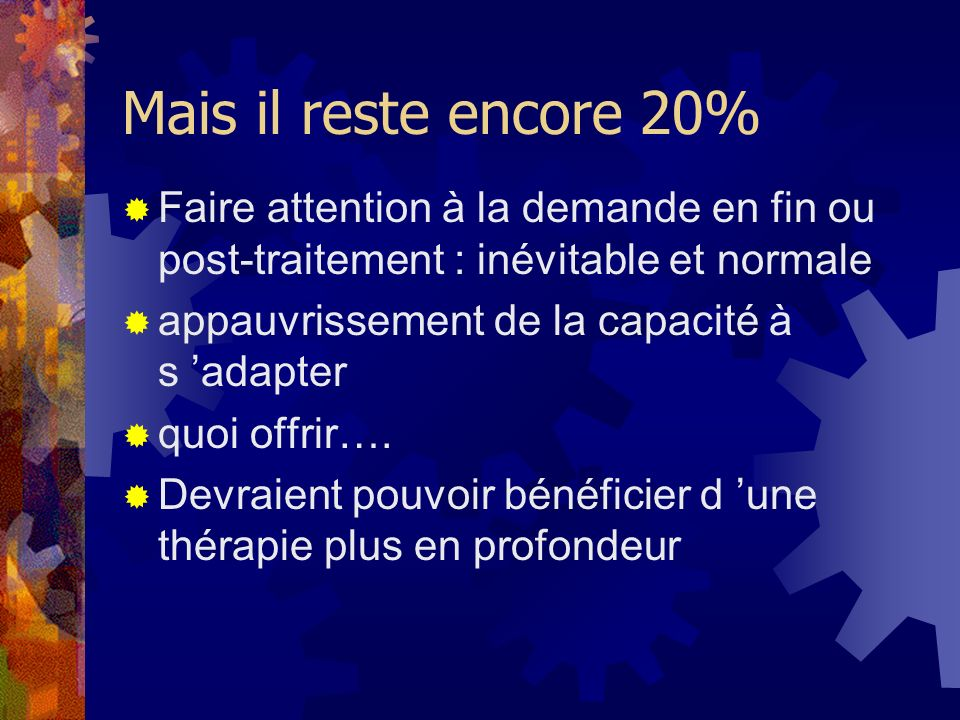 Mais il reste encore 20%Faire attention à la demande en fin ou post-traitement : inévitable et normale.
