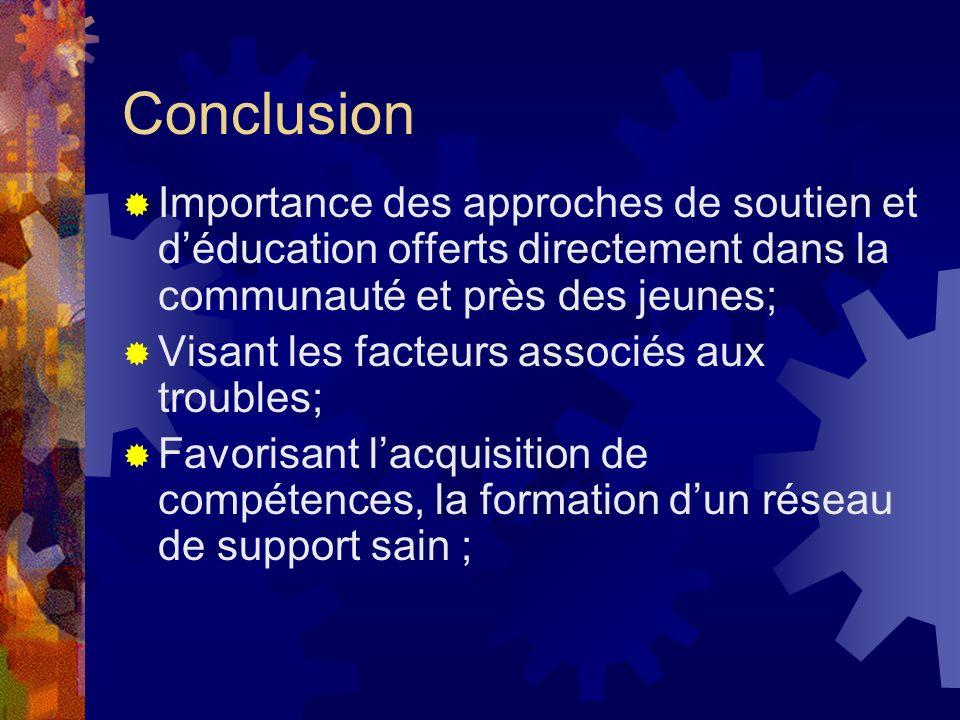 ConclusionImportance des approches de soutien et d'éducation offerts directement dans la communauté et près des jeunes;