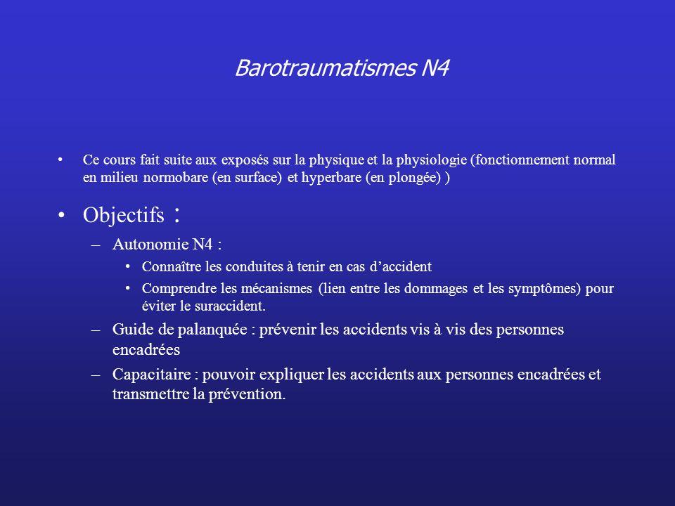 Barotraumatismes N4 Objectifs : Autonomie N4 :
