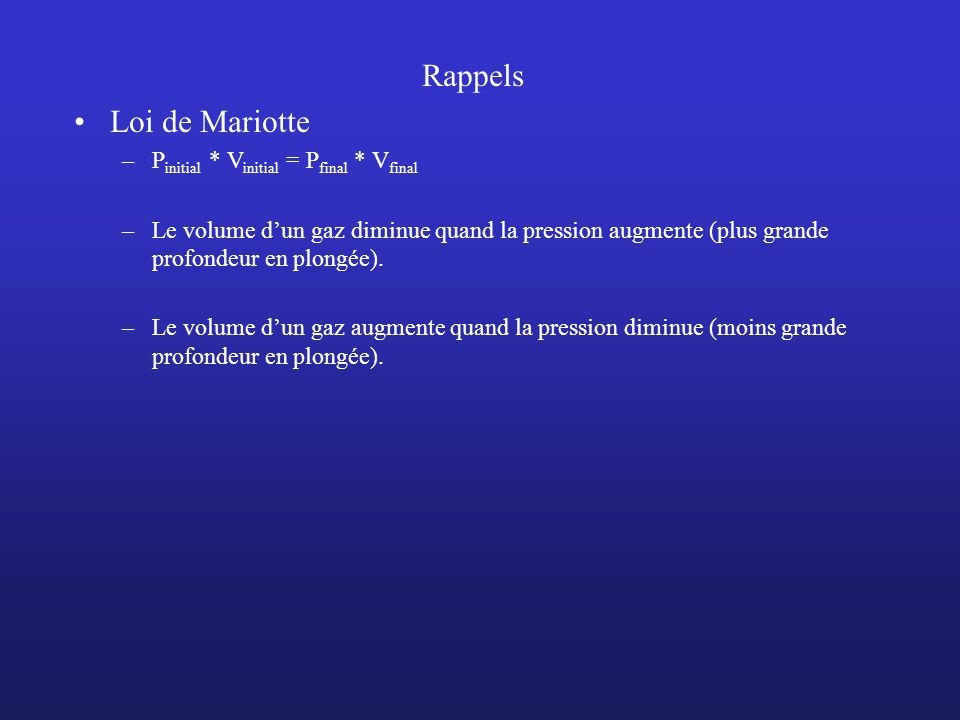 Rappels Loi de Mariotte Pinitial * Vinitial = Pfinal * Vfinal