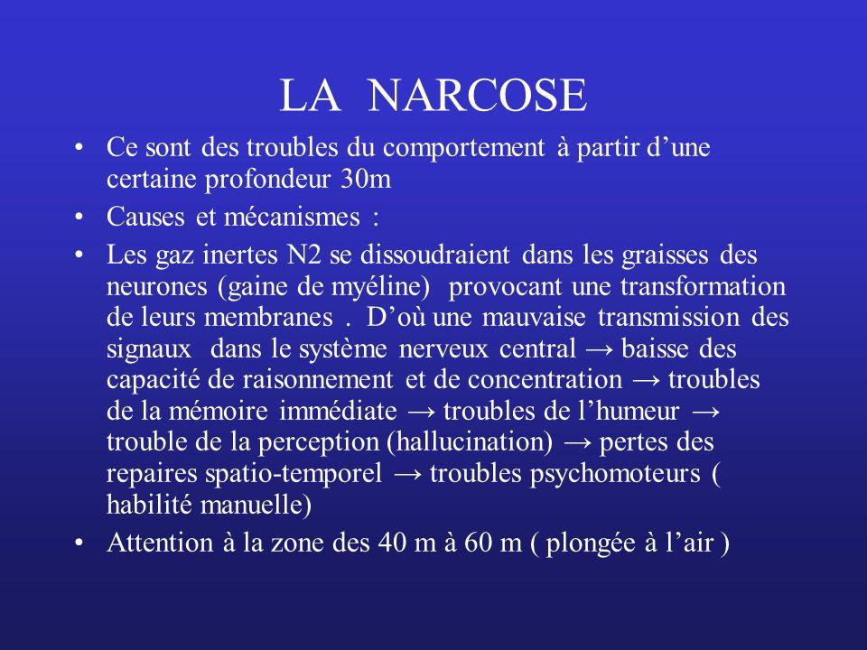 LA NARCOSE Ce sont des troubles du comportement à partir d'une certaine profondeur 30m. Causes et mécanismes :