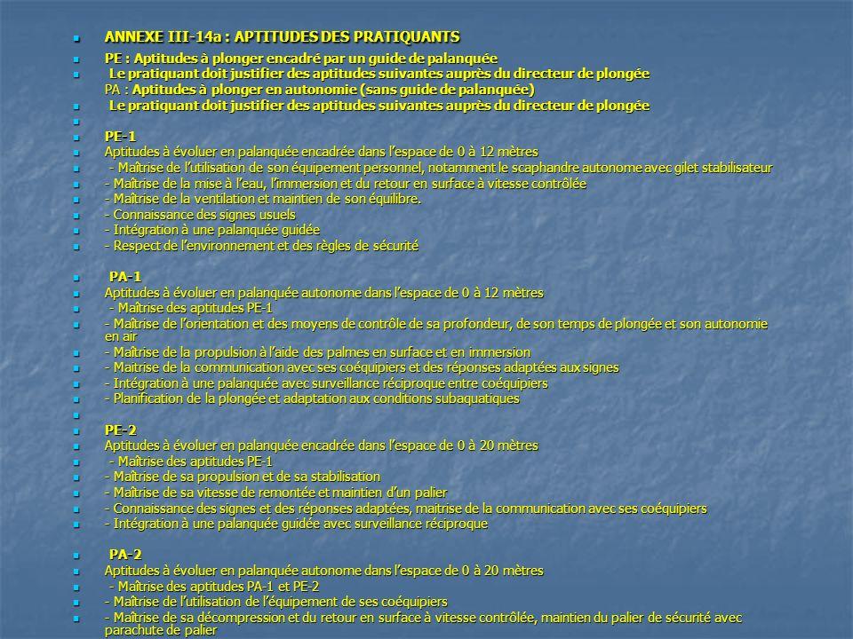 ANNEXE III-14a : APTITUDES DES PRATIQUANTS