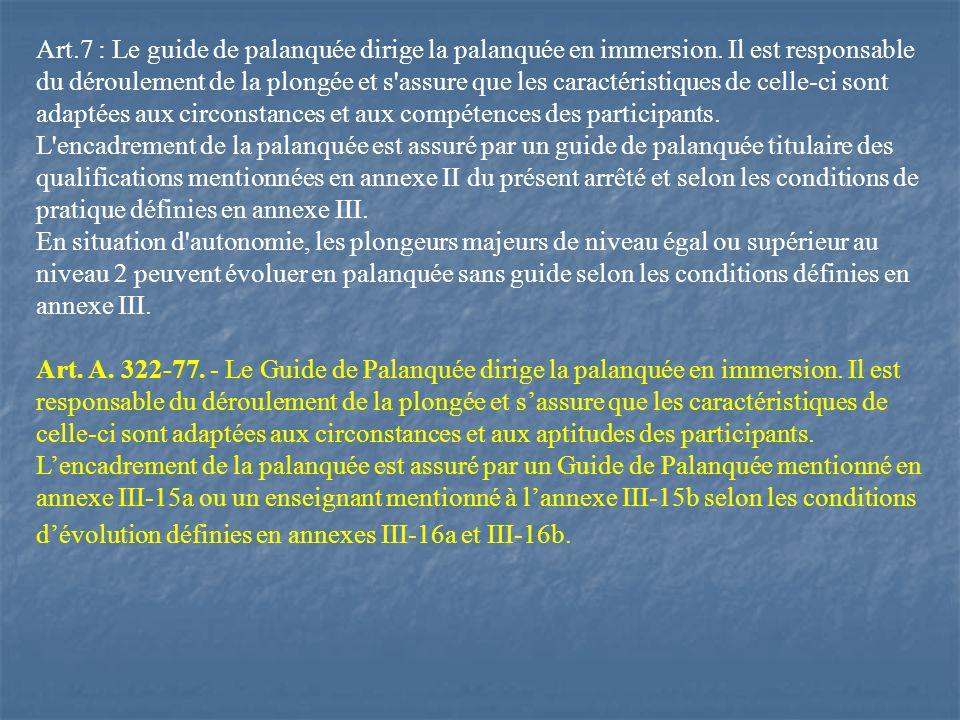 Art. 7 : Le guide de palanquée dirige la palanquée en immersion