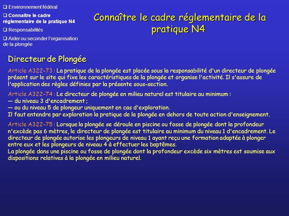 Connaître le cadre réglementaire de la pratique N4