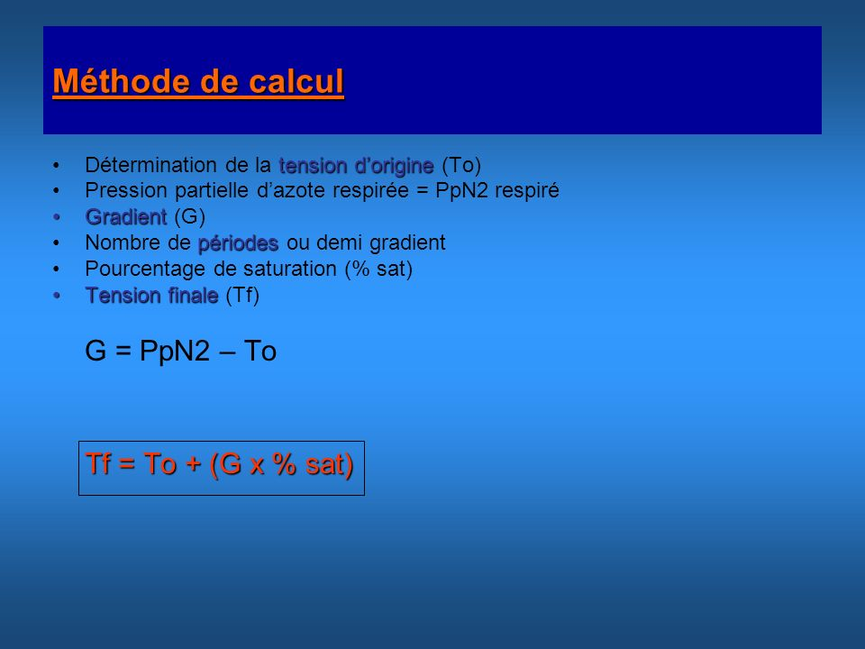 Méthode de calcul Détermination de la tension d'origine (To)