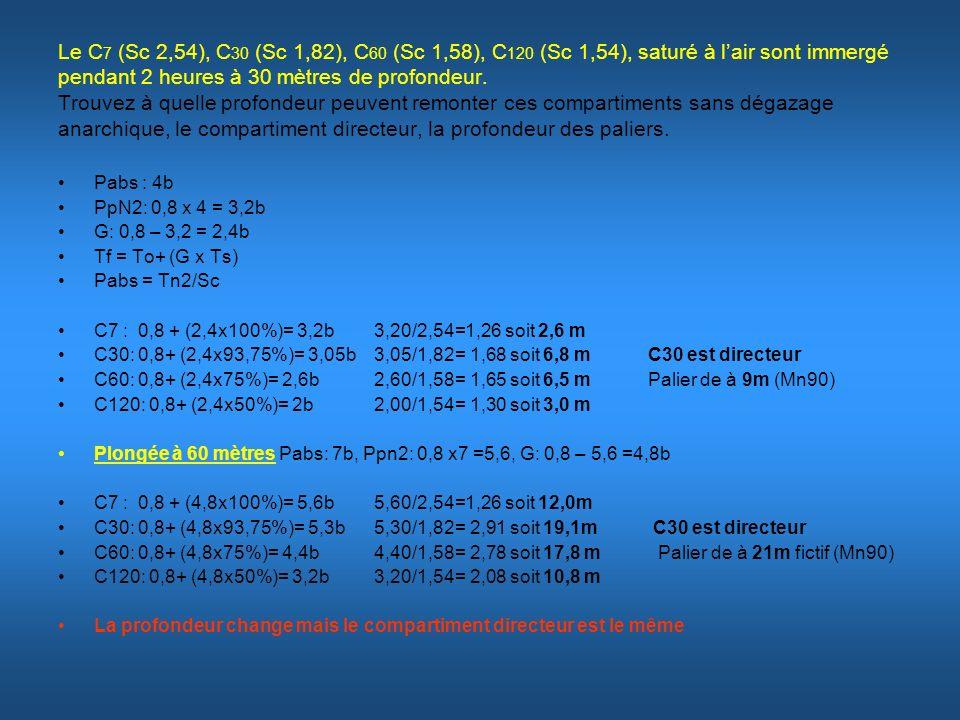 Le C7 (Sc 2,54), C30 (Sc 1,82), C60 (Sc 1,58), C120 (Sc 1,54), saturé à l'air sont immergé pendant 2 heures à 30 mètres de profondeur. Trouvez à quelle profondeur peuvent remonter ces compartiments sans dégazage anarchique, le compartiment directeur, la profondeur des paliers.