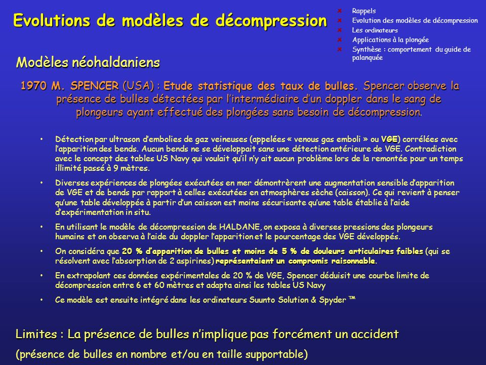 Evolutions de modèles de décompression
