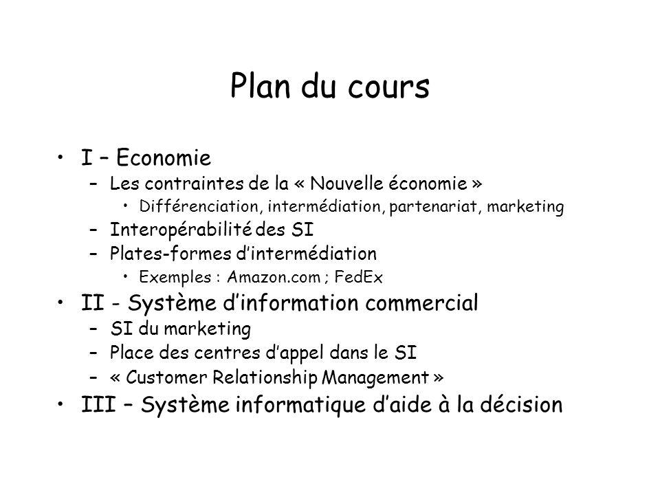 Plan du cours I – Economie II - Système d'information commercial