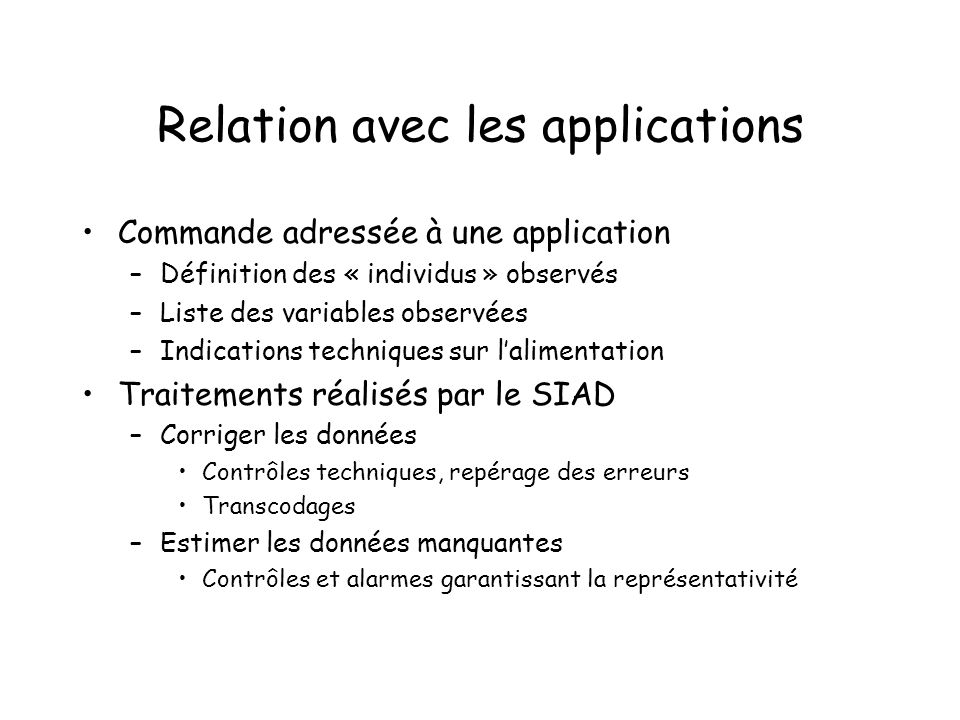 Relation avec les applications