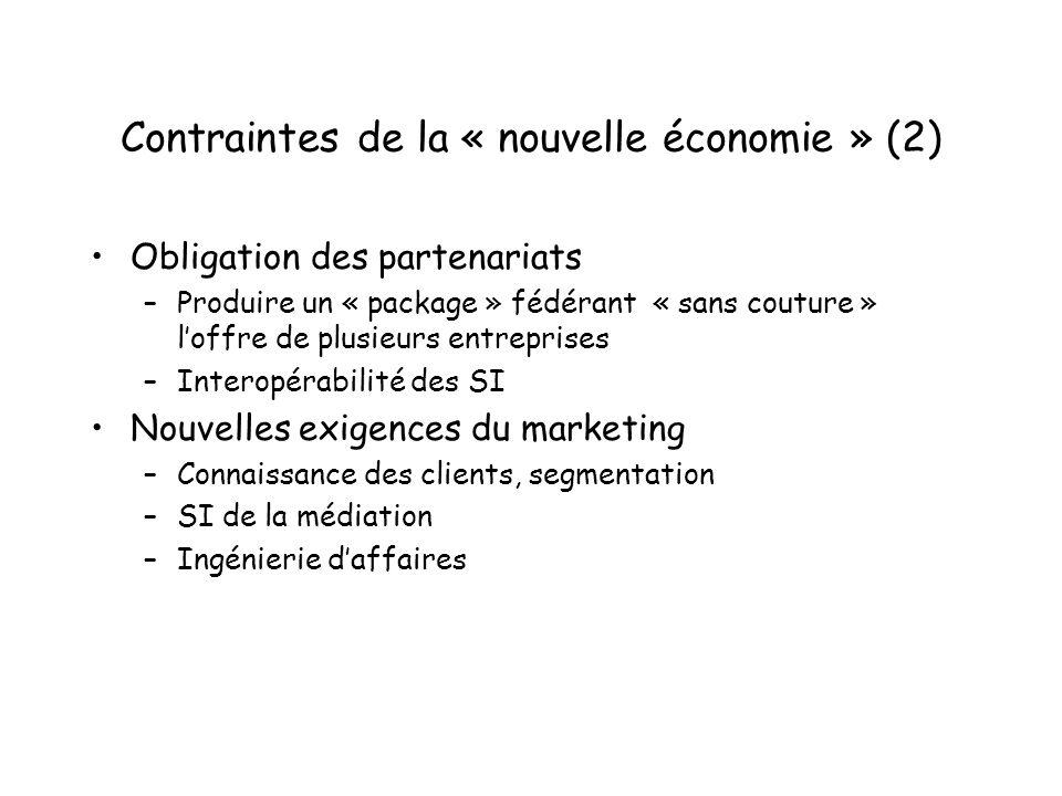 Contraintes de la « nouvelle économie » (2)