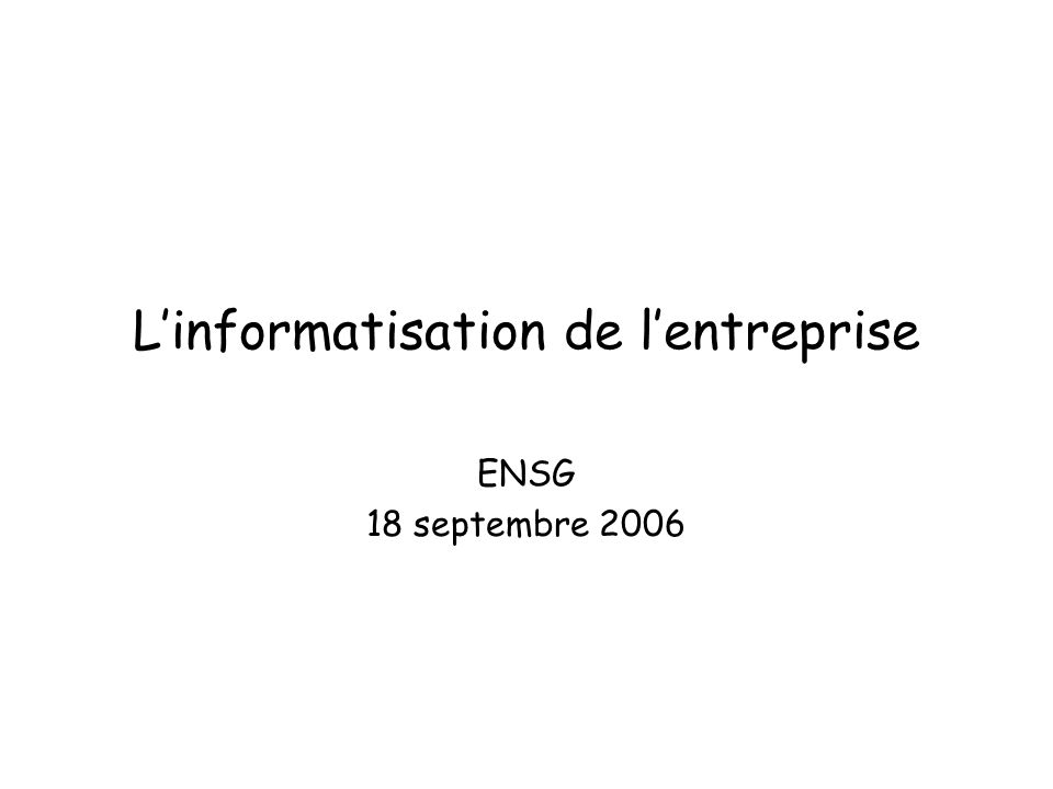 L'informatisation de l'entreprise