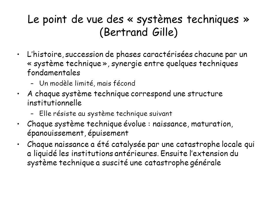 Le point de vue des « systèmes techniques » (Bertrand Gille)