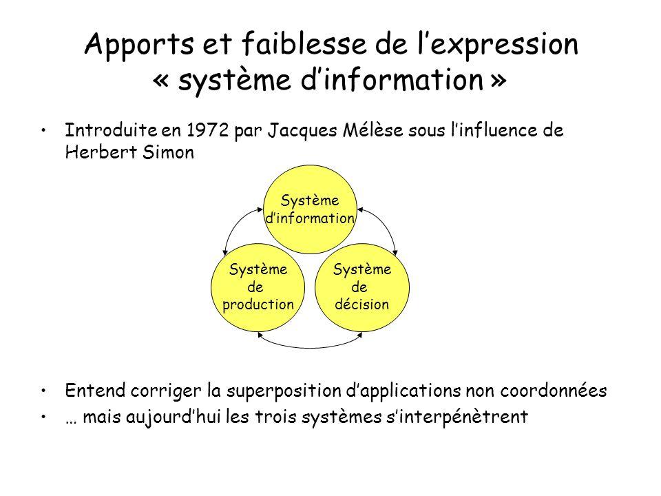 Apports et faiblesse de l'expression « système d'information »
