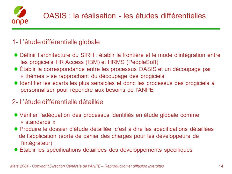 OASIS : la réalisation - les études différentielles