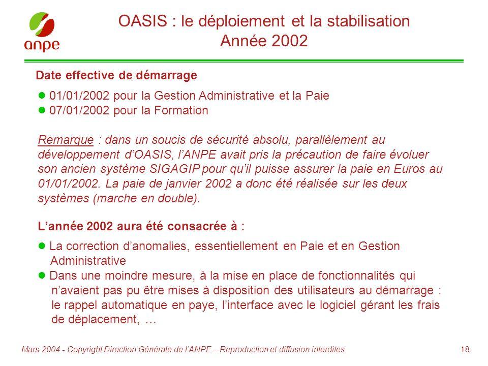 OASIS : le déploiement et la stabilisation