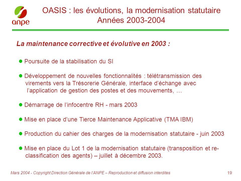 OASIS : les évolutions, la modernisation statutaire