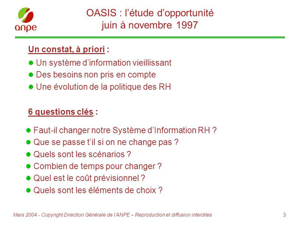 OASIS : l'étude d'opportunité