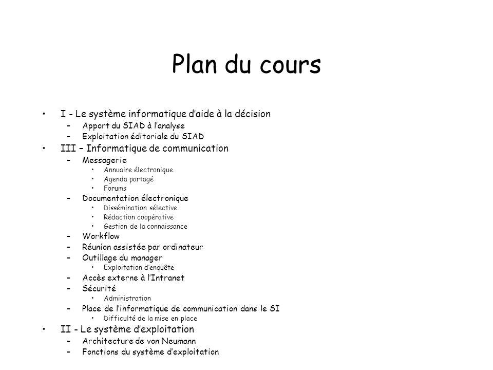Plan du cours I - Le système informatique d'aide à la décision