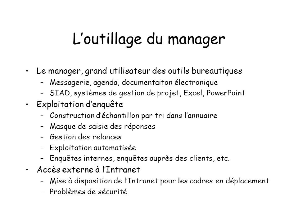 L'outillage du manager