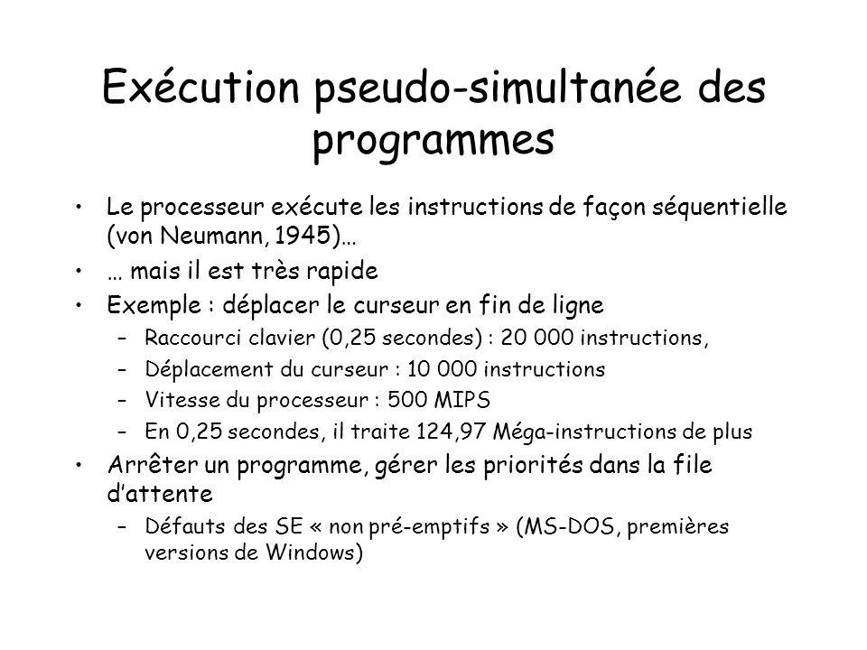 Exécution pseudo-simultanée des programmes